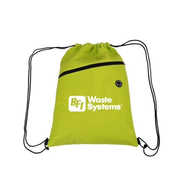 High Quality Drawstring Backpack Bag String Bags with Headphone Jack for Outdoor