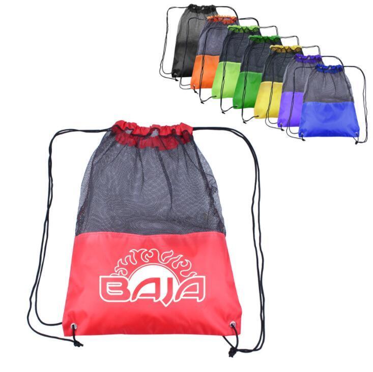 Custom Logo Drawstring Bag Stitching Mesh Bag Football Bag Sport Backpack
