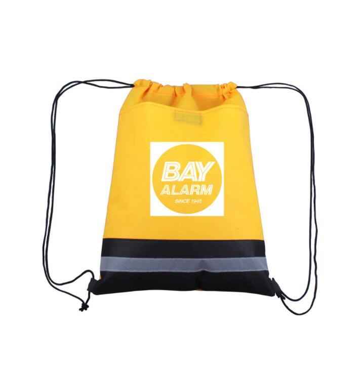 Custom Logo Printed Polyester Drawstring Bag Promotional Bag with Reflective Band