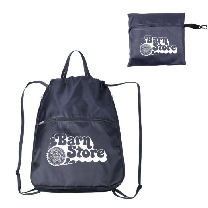 Custom Promotional Foldable Drawstring Backpack Bag Sports Backpck with Zipper