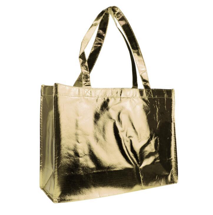 Custom Printed Laser Laminated Shopping Bag, PP Metallic Non Woven Handle Bag