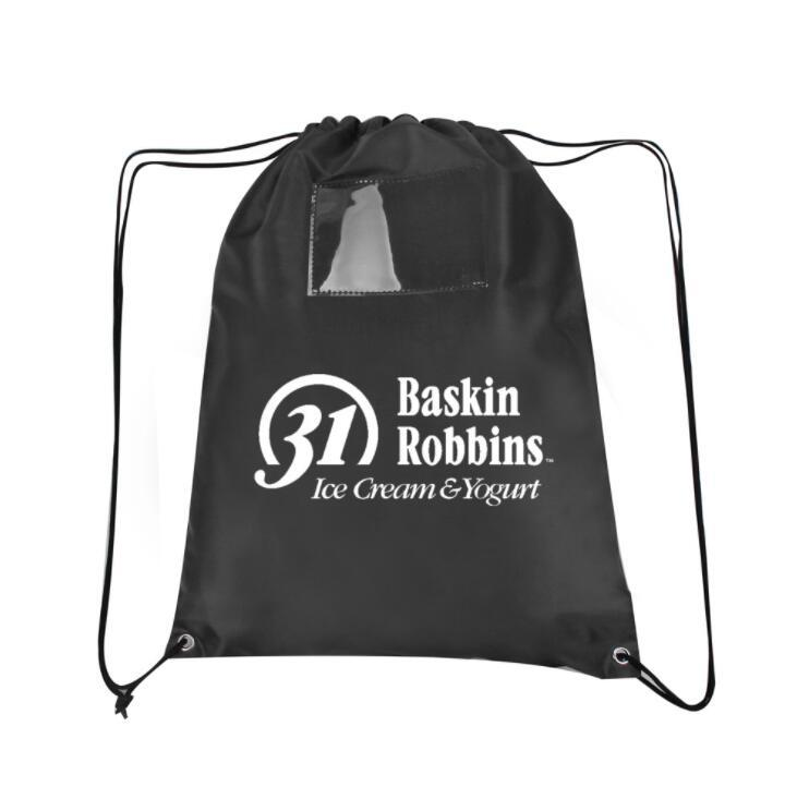 Advertising Promotional Polyester Nylon Sports Gym Drawstring Backpack with PVC card holder