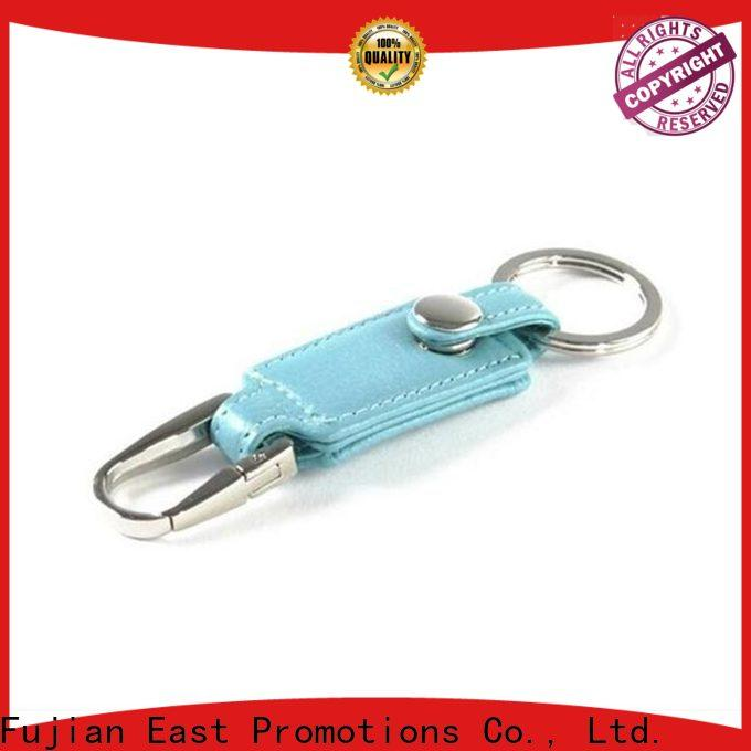 East Promotions worldwide wholesale leather keychain directly sale for corporate brand promotion