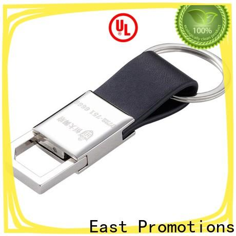 East Promotions latest leather ring keychain from China for souvenirs of school anniversary