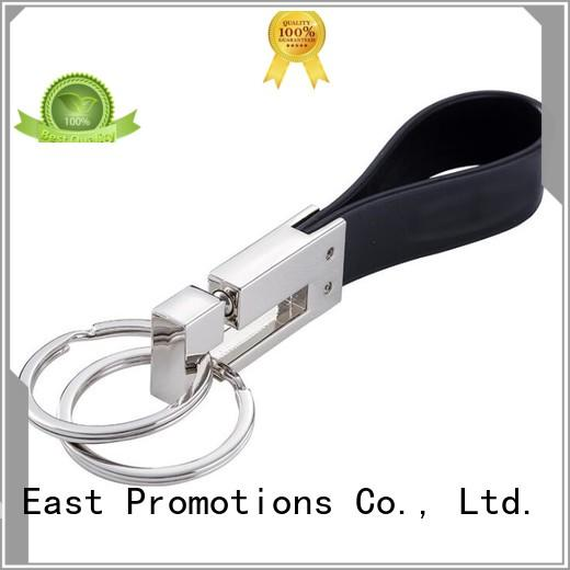 High Quality Metal PU Leather Keychain with Key Ring