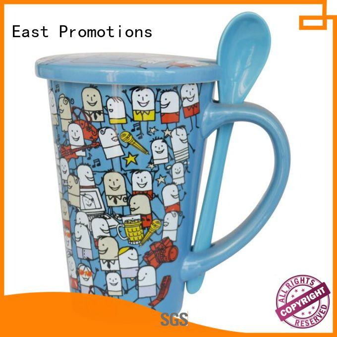 350ml Couples Cup Ceramic Mug with Lid and Spoon