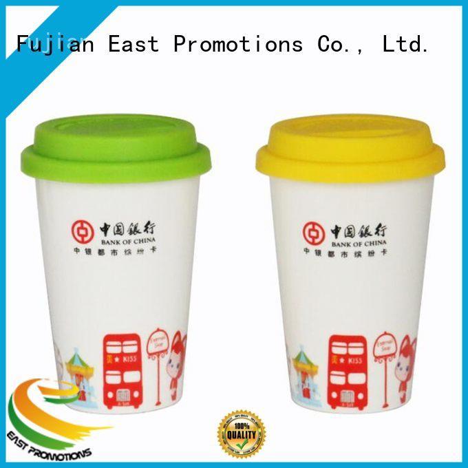 Ceramic Mug with Rubber Lid, Coffee Mug Without Handle