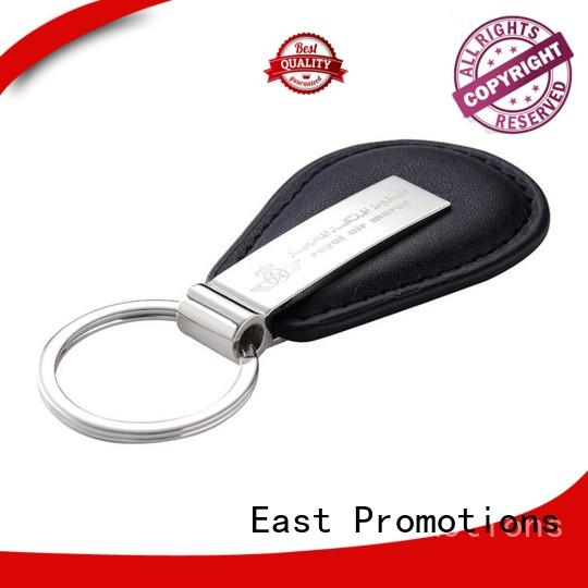 Customized Black PU Leather Car Keychain with Low Price