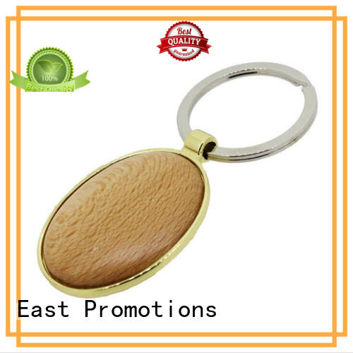 Custom Laser Engraving Logo Wooden Keychain with Metal