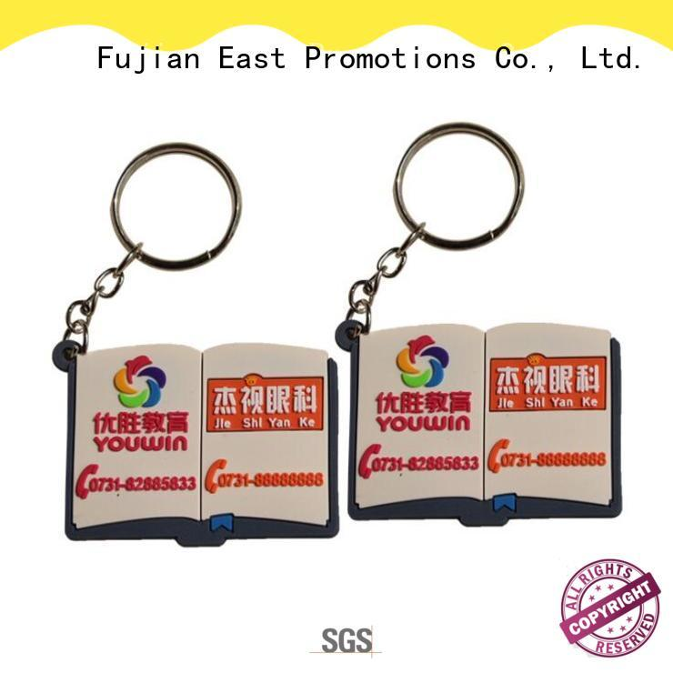 Book Shape Rubber Keyring, Plastic Keychain with Logo custom