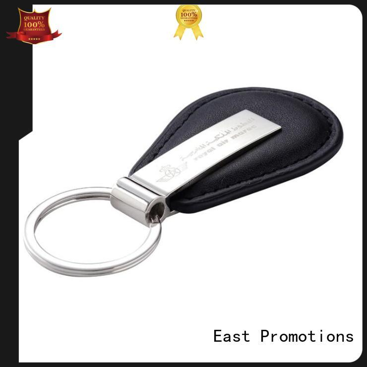 East Promotions personalised leather keychain directly sale for corporate brand promotion